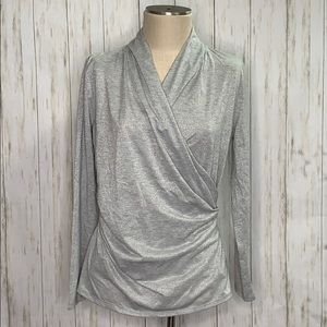 NWT Ann Taylor Silver Shimmer Top